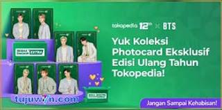 cara dapat bts photocard gratis di tokopedia