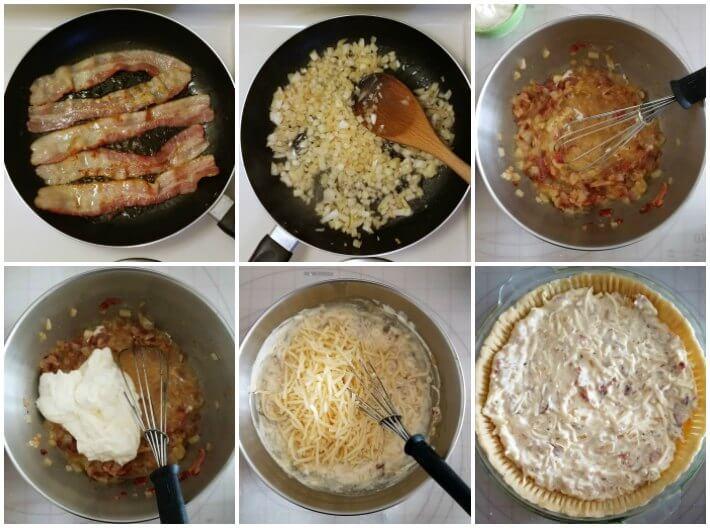 Paso a paso elaboración del relleno de queso suizo, cebolla y tocineta para el quiche