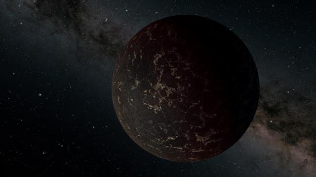 """Imagem CGI ilustrando """"planetas"""" negros"""