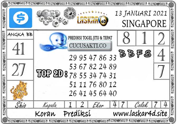 Prediksi Togel SINGAPORE LASKAR4D 13 JANUARI 2021