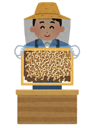 養蜂場で働く人のイラスト