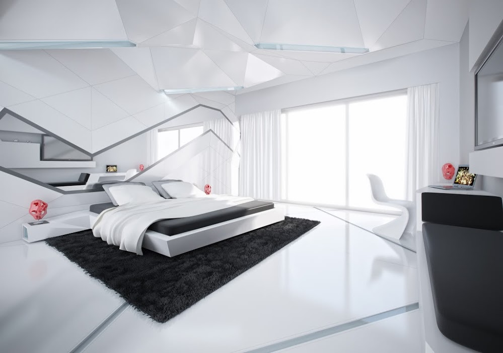 asymmetrical-glossy-black-and-white-bedroom-designs