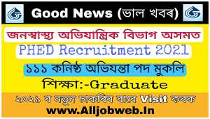 PHED Assam Recruitment 2021 – Apply Online for 111 Junior Engineer (Civil) Vacancy
