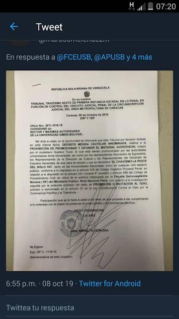 Tribunal censuró la difusión del cine foro 'El chavismo la peste del siglo XXI' en la USB