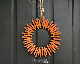 Make Your Own Pumpkin Wreath with Clothespins