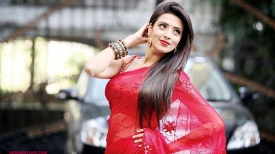 Bidya Sinha Mim Red Sharee