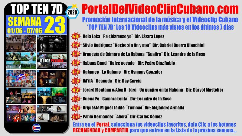 Artistas ganadores del * TOP TEN 7D * con los 10 Videoclips más vistos en la semana 23 (01/06 a 07/06 de 2020) en el Portal Del Vídeo Clip Cubano
