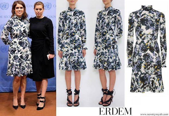 Princess Eugenie wore a ERDEM Lilac Floral Bernette Silk Dress