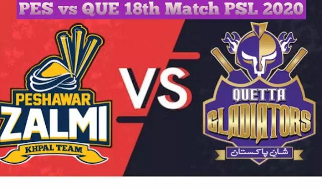Peshawar Zalmi Vs Quetta Gladiators 18th Match Prediction Who Will Win