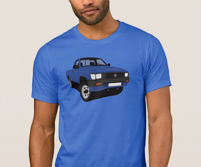 90-luvun Toyota Hilux lava-auto t-paita sininen
