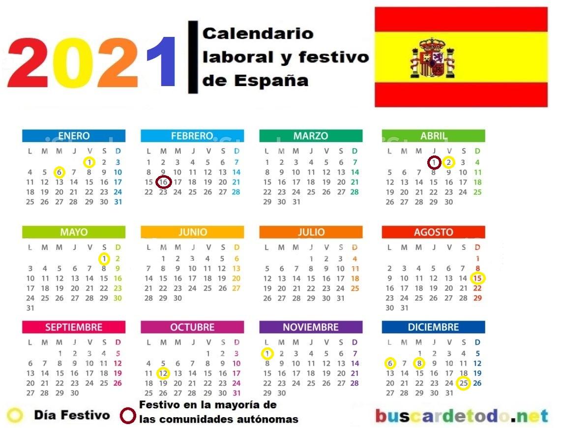 Calendario laboral y festivo de España 2021. Calendario laboral de España 2021, con sus días festivos y puentes.