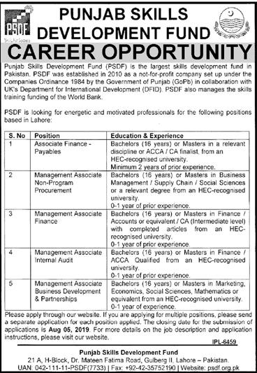 PSDF Jobs 2019 Punjab Skills Development Fund Latest Advertisement