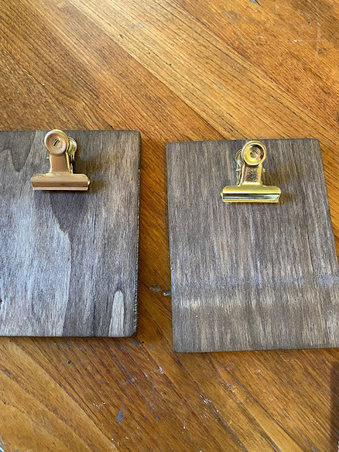 Photo of stained wooden mini clipboards