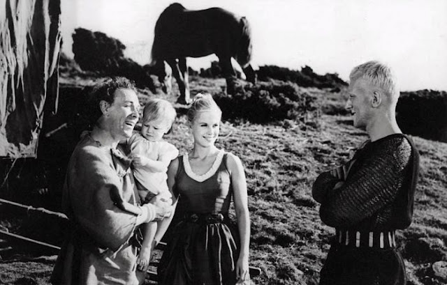 Max von Sydow, Nils Poppe and Bibi Andersson