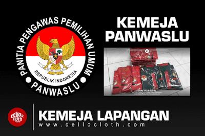 Kemeja Pengawas Pemilihan Pemilu Panwaslu Kombinasi Merah Navy