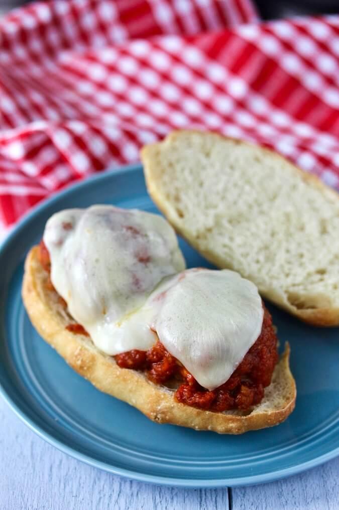 Cheesy Italian Meatball Submarine sandwiches with provolone cheese
