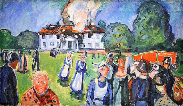 an Edvard Munch 1920s painting of servants and others fleeing an estate house fire