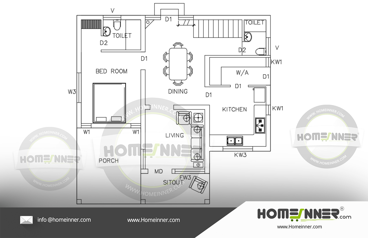 Free 700 sq ft Low cost budget house plan