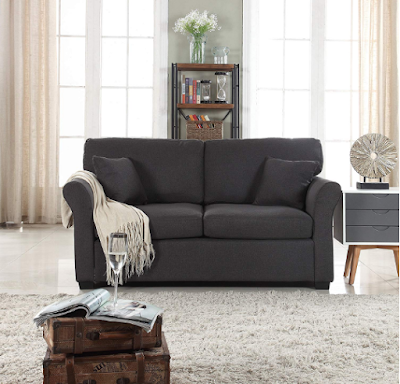 Classic and Traditional Ultra Relaxed Linen Fabric Loveseat - Living Room Fabric Couch