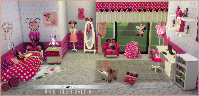 My Sims 4 Blog Mini Mouse Bedroom Set 19 Objects By Faby JenniSims