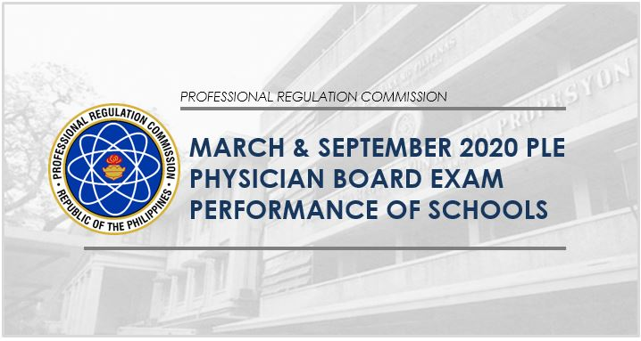 March & September 2020 Physician board exam result: PLE performance of schools