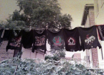 Great fuckin' photo! From Charlie Gavinelli's fb page... Early 1980's: the black wash hanging in our Brooklyn back yard, courtesy of Mom. Dad had the typical eight square foot Italian vegetable garden going on as well. Zucchini was never so Metal