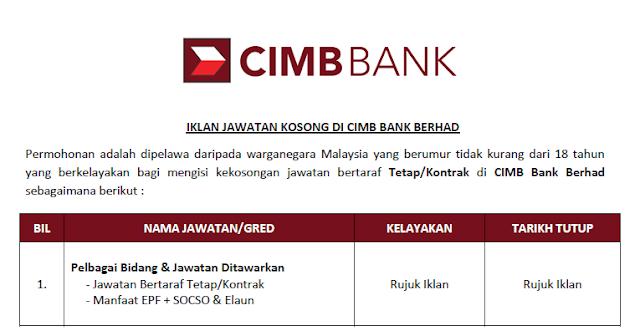 jawatan kosong cimb bank