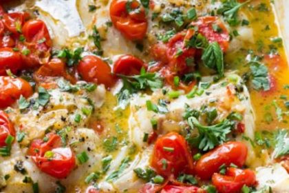 COD WITH TOMATO AND HERB BUTTER