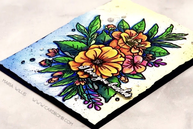 #cardbomb, Cardbomb, #mariawillis, Trinity Stamps, #cards, #cardmaking, #cardmaker, #stamp, #ink, #paper, #papercraft, #craft, #art, #diy, #watercolor, #flowers, #iloveyou,