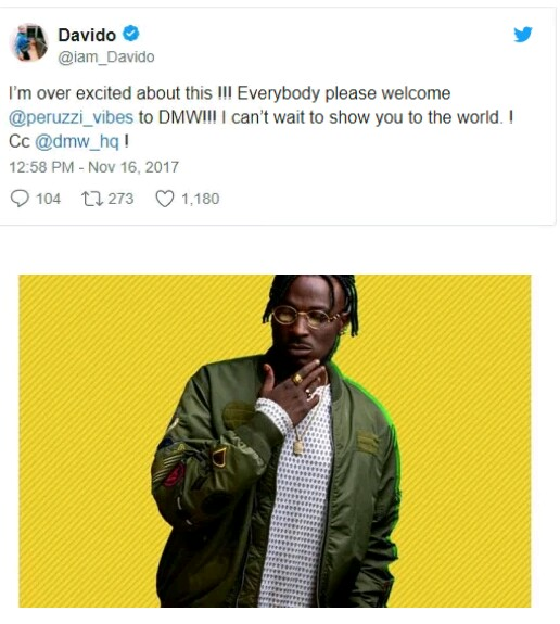 Davido signs Peruzzi to his label, DMW (Photo)