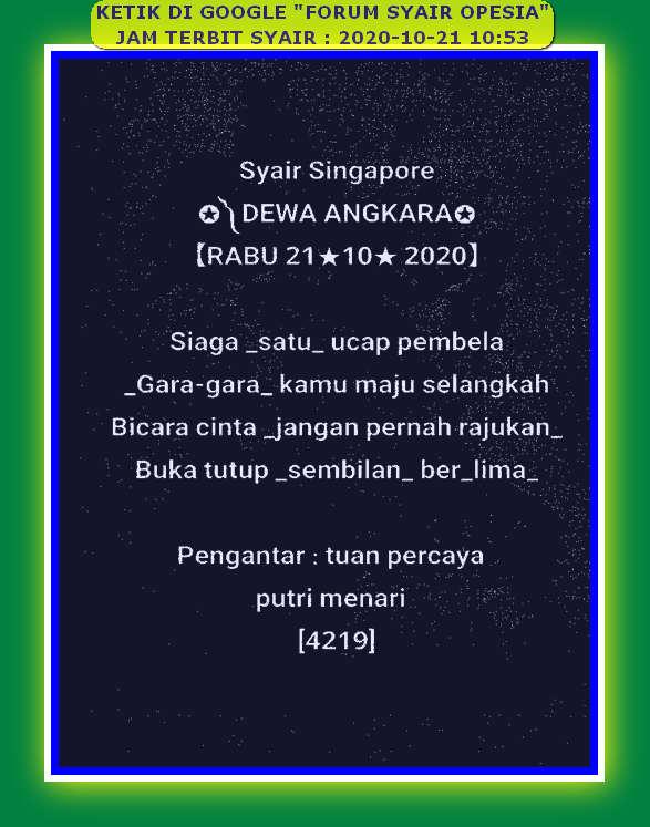 Kode syair Singapore Rabu 21 Oktober 2020 89