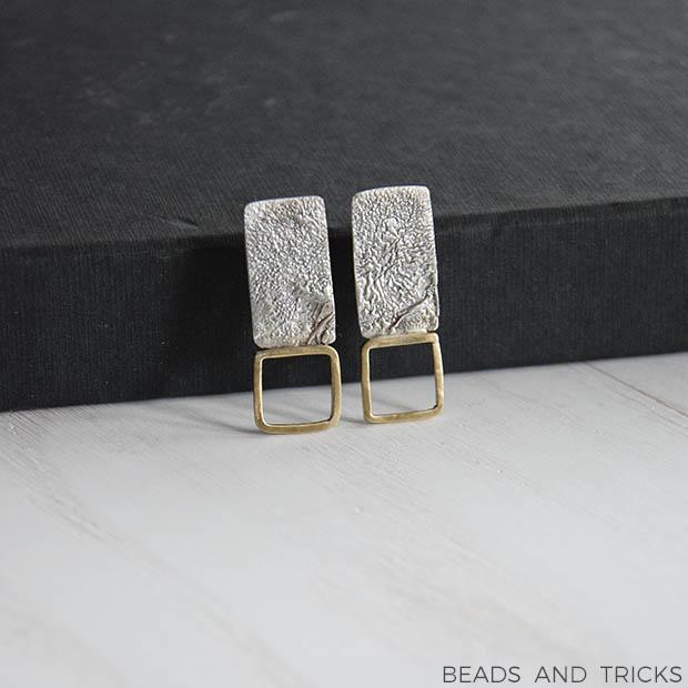 Orecchini a perno argento e ottone
