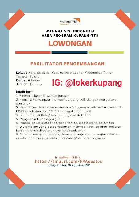 Lowongan Kerja Wahana Visi Indonesia Area Program Kupang-TTS Sebagai Fasilitator Pengembangan