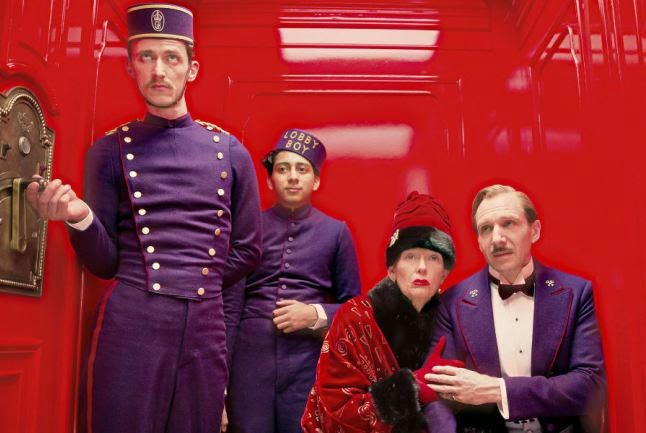 Ralph Fiennes as Gustave. H and Tilda Swinton as Madame D, in The Grand Budapest Hotel, Directed by Wes Anderson