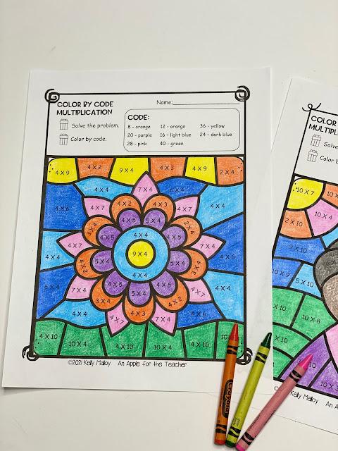 Diwali Multiplication Color By Number Worksheet flowers
