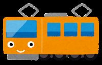 電車のキャラクターのイラスト(オレンジ)