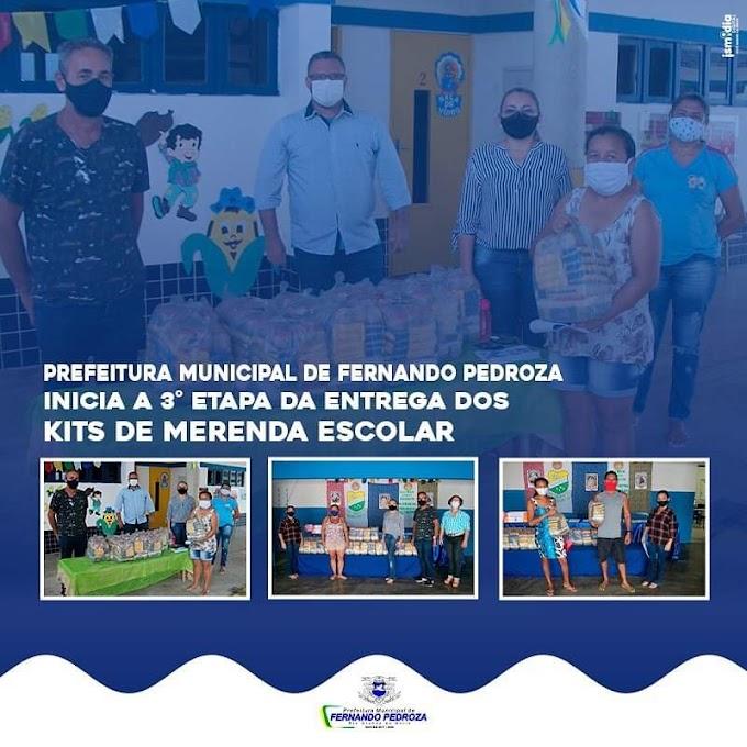 """Prefeitura de Fernando Pedroza inicia terceira etapa da distribuição de """"kits de merenda escolar"""""""