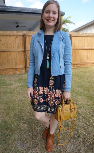 Shein navy flower print flowy dress with denim jacket ankle boots micro regan mustard bag | away from blue