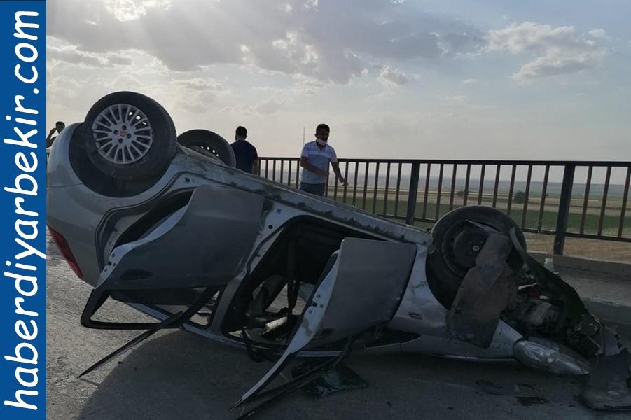 Diyarbakır-Bismil-Batman yol ayrımında kontrolden çıkan otomobil takla attı: 3 yaralı