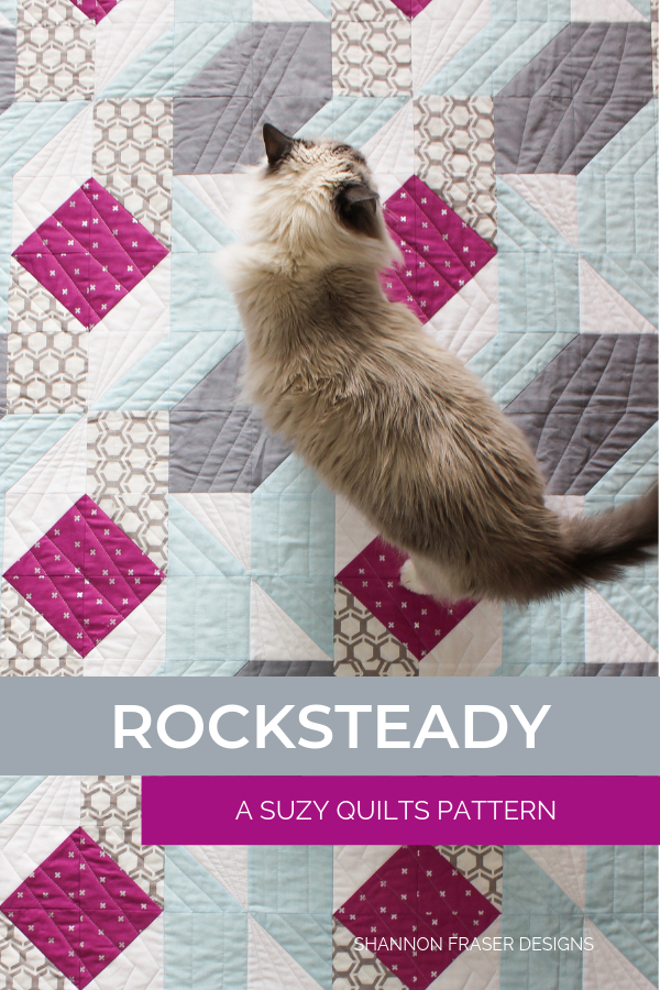 Rocksteady a Suzy Quilt Patterns | Q4 Finish-a-Long List of Projects | Shannon Fraser Designs #modernquilt #quilting #catsonquilts