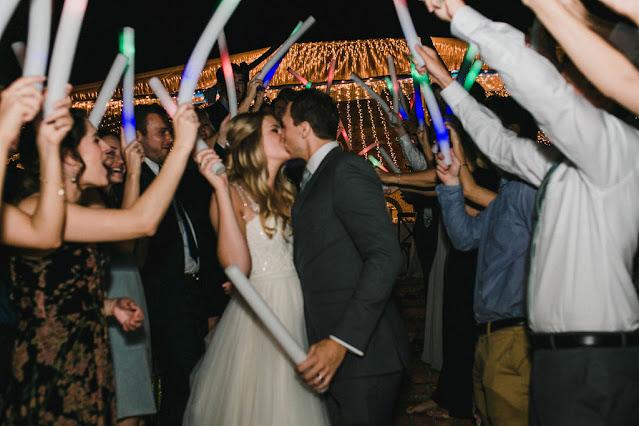wedding reception exit with foam glow sticks