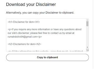 membuat diclaimer online