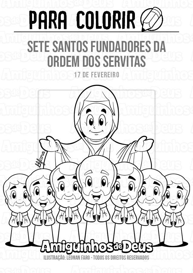 Sete Santos fundadores da Ordem dos Servitas desenho para colorir