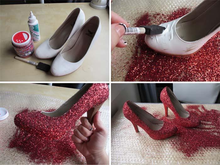 topuklua ayakkabı simlerle süsleme yenileme