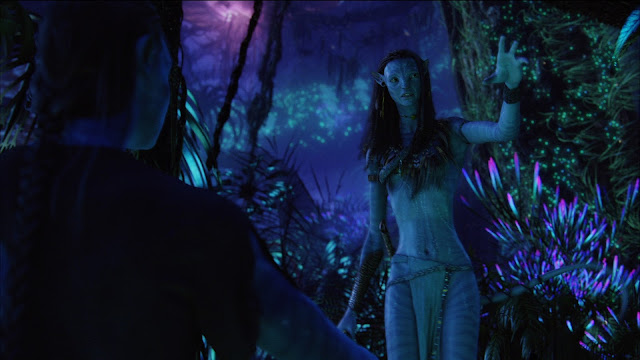 Jake and Neytiri in the Pandorian forest. Movie: Avatar