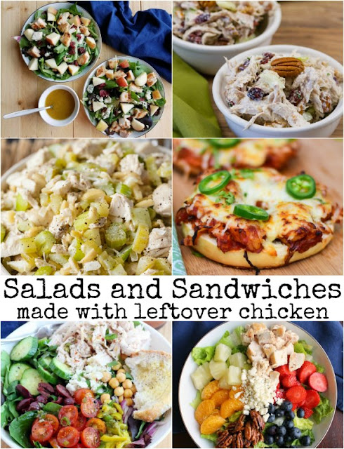 collage of various salads and sandwiches that can be made with leftover chicken