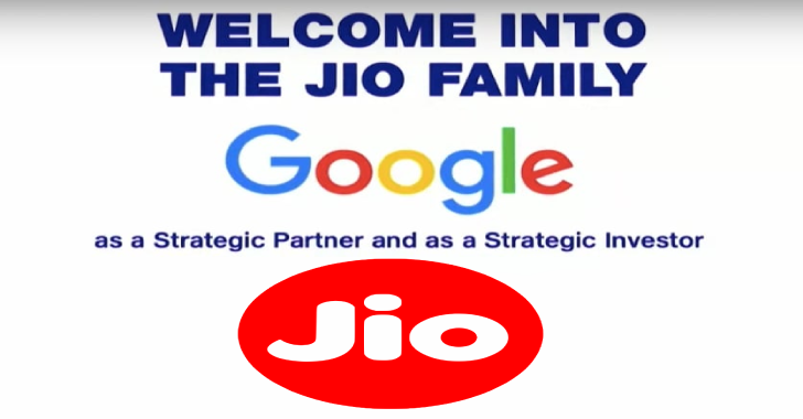 Jio Gets $65 Million Investment From Google for 7.7% Stake