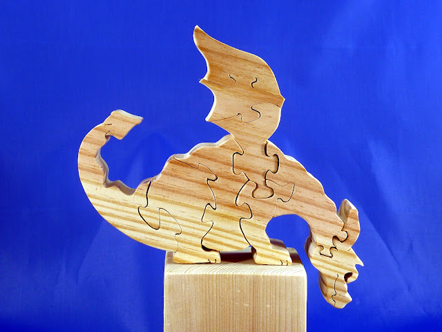 Right Side - Wooden Toy Puzzle - Dragon - Yellow Pine - Unfinished - 7.5x6x15 Inches