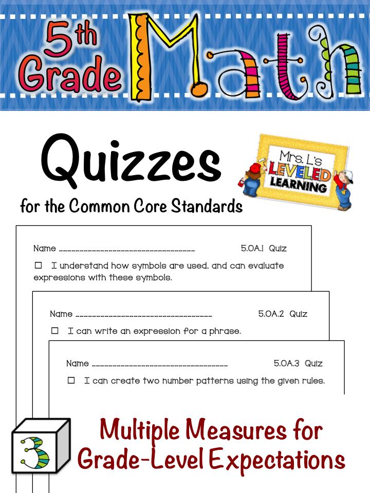 5th Grade Common Core Math Quizzes for FREE!