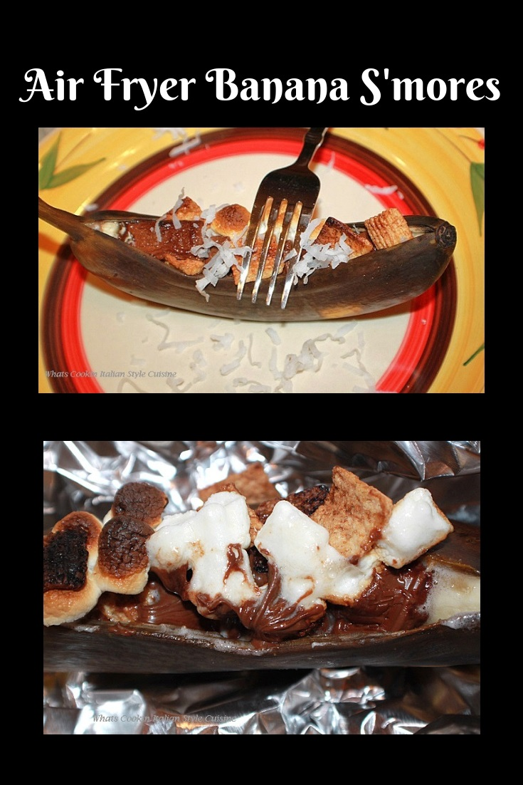 this is an air fried banana stuffed with toasted marshmallows, hershey chocolate bars and graham cracker cereal
